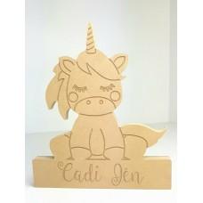 18mm Personalised Engraved Sitting Unicorn 220mm Personalised and Bespoke