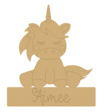 6mm Laser Etched Sitting Unicorn on Blank Base For Vinyl 220mm Unicorn Items