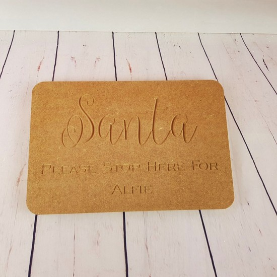 18mm Engraved Santa Stop Here For Block Personalised and Bespoke