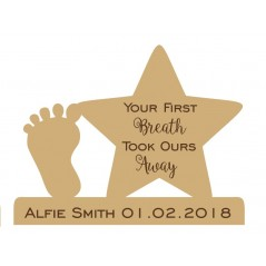 18mm Personalised Engraved Star and Foot - Your First Breath Took Ours Away Personalised and Bespoke