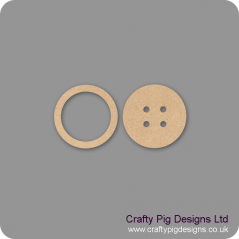 18mm MDF Button (2 parts) with 3mm top 18mm MDF Craft Shapes