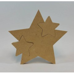 18mm Freestanding Star With 2 Interlocking Stars 18mm MDF Interlocking Craft Shapes
