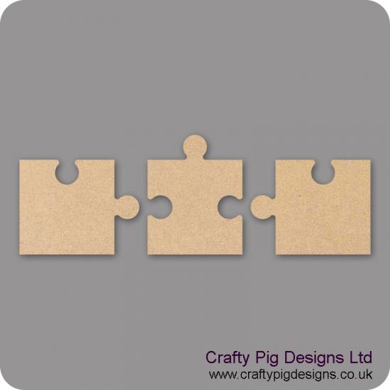 18mm Freestanding Jigsaw Pieces (3 piece set) 18mm MDF Interlocking Craft Shapes