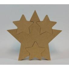 18mm Freestanding Star With 3 Interlocking Stars 18mm MDF Interlocking Craft Shapes