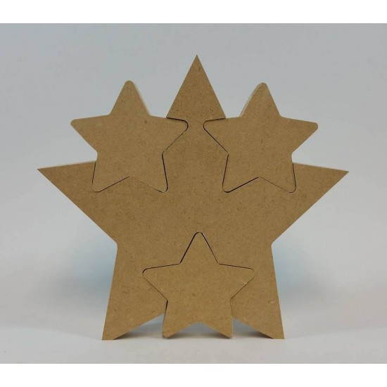 18mm Freestanding Star With 3 Interlocking Stars 18mm MDF Interlocking Craft Shapes