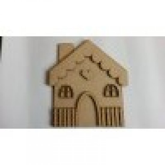 3mm MDF 3D Cute House with 2 windows and heart
