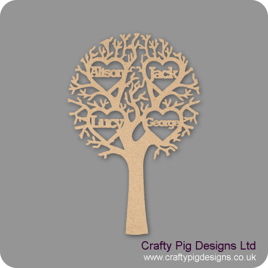 3mm MDF Tree with 4 Hearts  - Personalised with Your Names or Initials Trees Freestanding, Flat & Kits