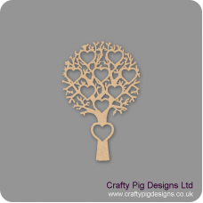 3mm MDF Tree With 9 Hearts - Personalised With Names Or Any Wording Trees Freestanding, Flat & Kits
