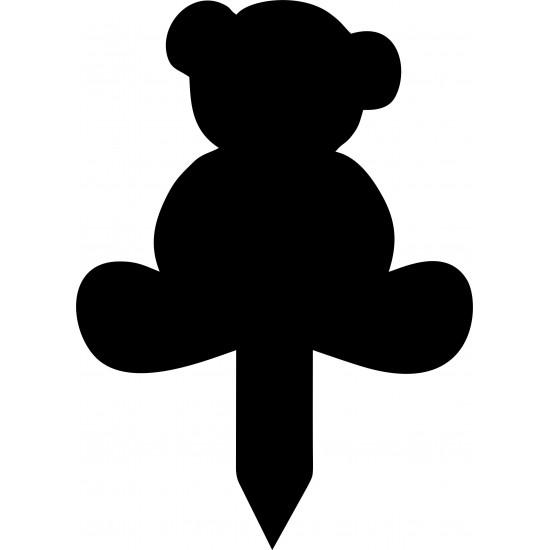 3mm Acrylic OR mdf Teddy Bear On Stake Shape Basic Shapes