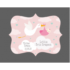 3mm Acrylic Box Topper- Pink or Blue Baby Stork Design Personalised and Bespoke