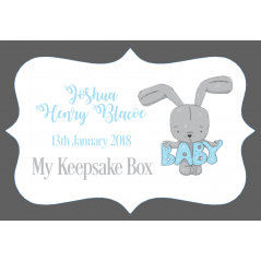3mm Acrylic Box Topper / Plaque Blue Bunny Design Personalised and Bespoke