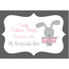 3mm Acrylic Box Topper / Plaque Pink Bunny Design Personalised and Bespoke
