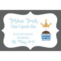 3mm Acrylic Box Topper / Plaque Blue Time Capsule Design Personalised and Bespoke