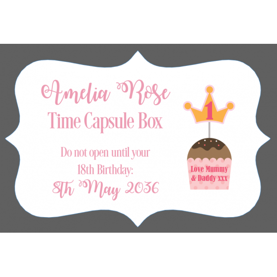 3mm Acrylic Box Topper / Plaque Pink Time Capsule Design Personalised and Bespoke