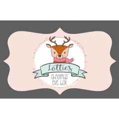 3mm Acrylic Box Topper- Deer on Pale Pink Background Personalised and Bespoke