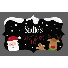 3mm Acrylic Box Topper- Santa and Rudolph Black background Personalised and Bespoke