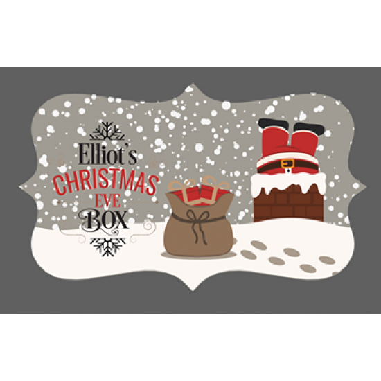 3mm Acrylic Box Topper- Santa Down the Chimney Personalised and Bespoke