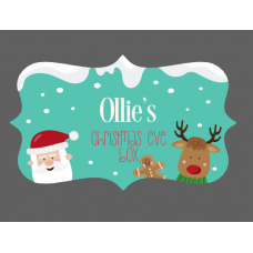 3mm Acrylic Box Topper / Santa and Rudolph on Green Background Box Design Personalised and Bespoke