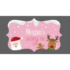 3mm Acrylic Box Topper / Santa and Rudolph on Bright Pink Background Personalised and Bespoke
