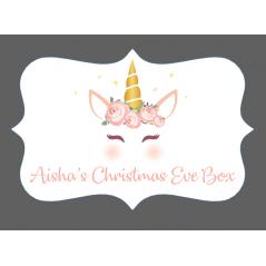 3mm Acrylic Box Topper- Unicorn Christmas Eve Box Design