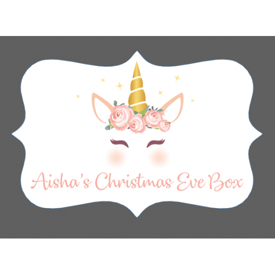 3mm Acrylic Box Topper- Unicorn Christmas Eve Box Design Personalised and Bespoke