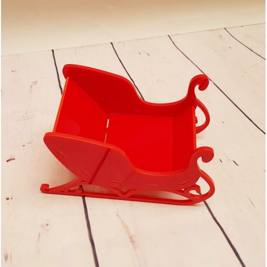 3mm Red Perspex 3D Santa's Sled / Sleigh (3 sizes) Christmas Shapes