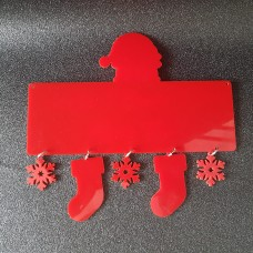 Acrylic Plaque with Santa Head, Stockings & Snowflakes Christmas Baubles