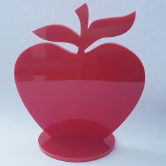Freestanding 3mm Red Acrylic Apple on Base
