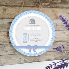 Personalised Printed White Circle - Christening - Blue Elephant