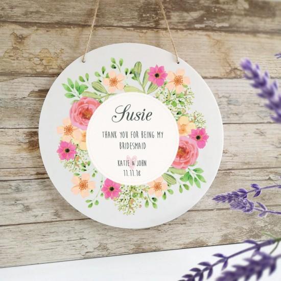 Personalised Printed White Circle Floral Design - Bridesmaid Gift Personalised and Bespoke
