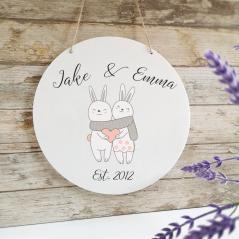 Personalised Printed White Circle - Love Bunnies Personalised and Bespoke