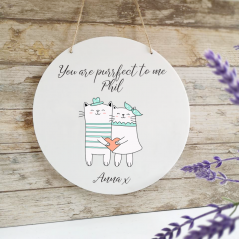 Personalised Printed White Circle - Love Cats