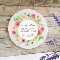 Personalised Printed White Circle - Nanny's House