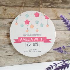 Personalised Printed White Circle - Christening - Pink Stars
