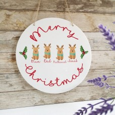 Personalised Printed White Circle - Reindeer Family Personalised and Bespoke