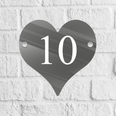 Heart Acrylic Door Number Blank with stand offs House Number Blanks