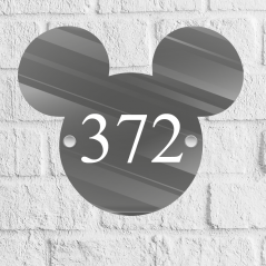 Mouse Head Acrylic Door Number Blank with stand offs House Number Blanks