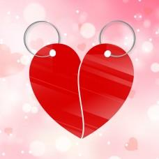 Heart Split Keyring Shape in Acrylic or Oak Veneer Pack of 5 Keys and Keyrings