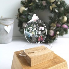 Printed Acrylic Best Teacher Ever Clear Bauble Christmas Baubles