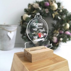 Printed Acrylic When Robins Appear clear Bauble Christmas Baubles