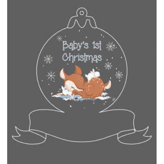 Printed Acrylic Baby Deer First Christmas Ribbon Bauble