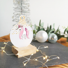 Printed Glittery Unicorn Bauble on frosted acrylic Christmas Baubles