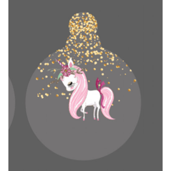 Printed Glittery Unicorn Bauble on frosted acrylic