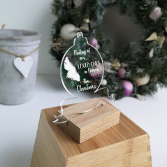 Printed Acrylic Thinking Of Our Loved Ones In Heaven Bauble Christmas Baubles