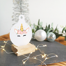 Printed Unicorn Crown Bauble on frosted acrylic Christmas Baubles