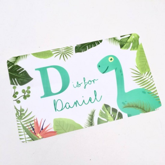 Personalised Printed Dinosaur Door Plaque