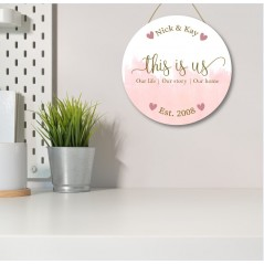 3mm White Acrylic Printed Circle - This Is Us - Names and Est  Blush and Gold Personalised and Bespoke
