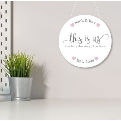 3mm White Acrylic Printed Circle - This Is Us - Established date