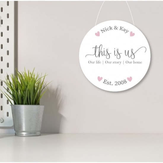 3mm White Acrylic Printed Circle - This Is Us - Established date Personalised and Bespoke