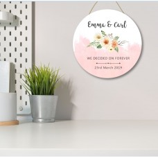 3mm White Acrylic Printed Circle - We Decided On Forever - Floral - Blush and Black Personalised and Bespoke